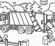 Coloriage et dessins gratuit Camion poubelle couleur à imprimer