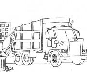 Coloriage et dessins gratuit Camion Poubelle dans la ville à imprimer