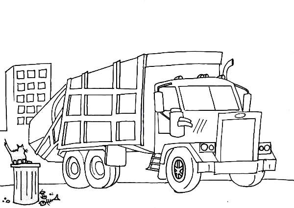 Coloriage et dessins gratuits Camion Poubelle dans la ville à imprimer