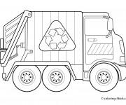 Coloriage et dessins gratuit Camion Poubelle De recyclage à imprimer