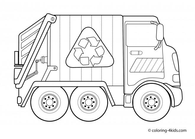Coloriage Camion Poubelle De Recyclage Dessin Gratuit à Imprimer