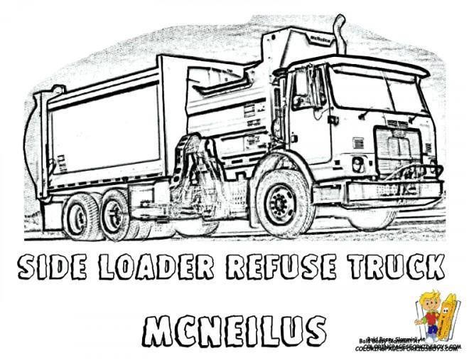 Coloriage et dessins gratuits Camion Poubelle en ligne à imprimer