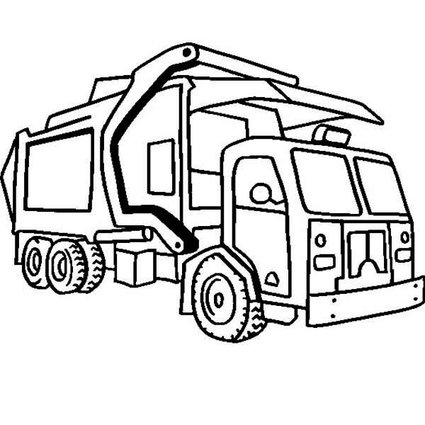 Coloriage et dessins gratuits Camion Poubelle en noir et blanc à imprimer