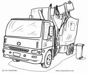 Coloriage camion poubelle gratuit imprimer liste 20 40 - Coloriage camion de poubelle ...