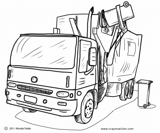 Coloriage et dessins gratuits Camion Poubelle et le ramassage des ordures à imprimer