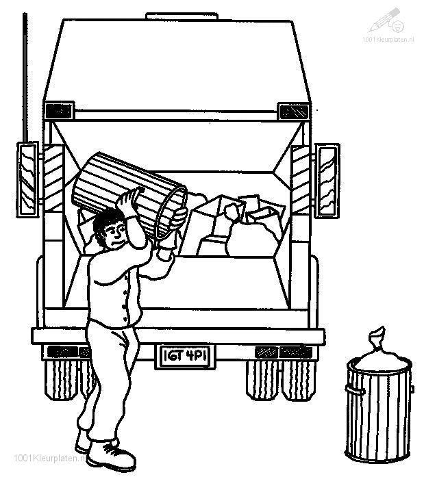 Coloriage et dessins gratuits Camion Poubelle et Ripeur à imprimer