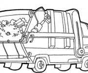 Coloriage et dessins gratuit Camion Poubelle facile à imprimer