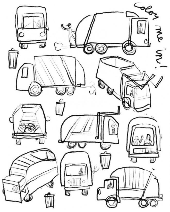 Coloriage et dessins gratuits Camion Poubelle facile dessiné par le crayon à imprimer