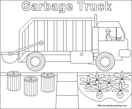 Coloriage et dessins gratuits Camion Poubelle passe par les maisons à imprimer