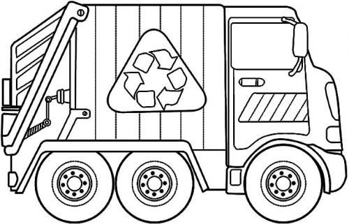 Coloriage Camion Poubelle Ramasse Et Transporte Les Ordures