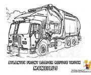 Coloriage et dessins gratuit Camion Poubelle réaliste à imprimer