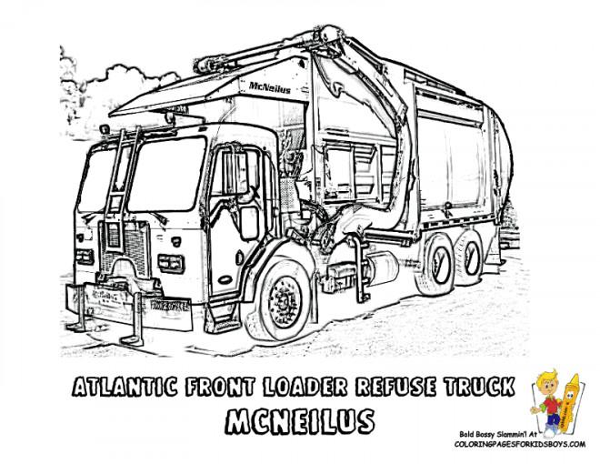 Coloriage et dessins gratuits Camion Poubelle réaliste à imprimer