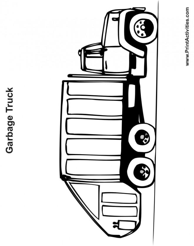 Coloriage et dessins gratuits Camion Poubelle simple à imprimer