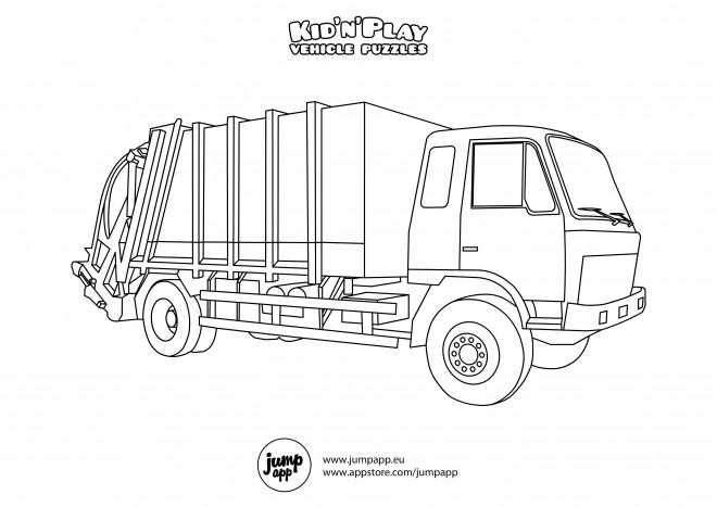 Coloriage et dessins gratuits Camion Poubelle stylisé à imprimer