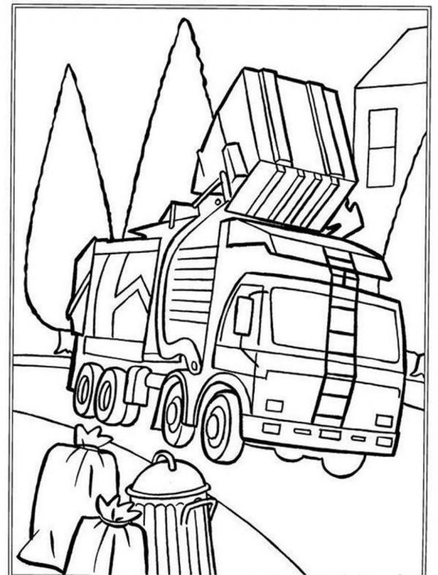 Coloriage et dessins gratuits Camion Poubelle sur chemin à imprimer
