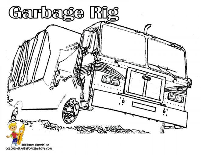 Coloriage et dessins gratuits Camion Poubelle vectoriel à imprimer