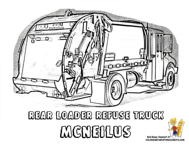 Coloriage et dessins gratuits La Véhicule Camion Poubelle à imprimer