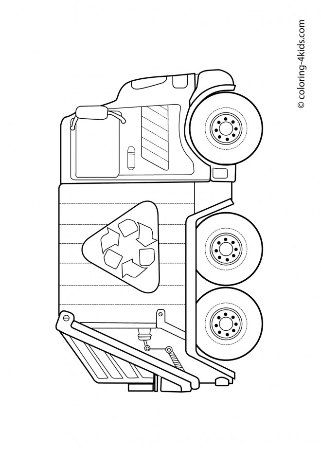 Coloriage et dessins gratuits Le Camion de Poubelle simple à imprimer