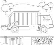 Coloriage et dessins gratuit Un paysage de Camion Poubelle à imprimer