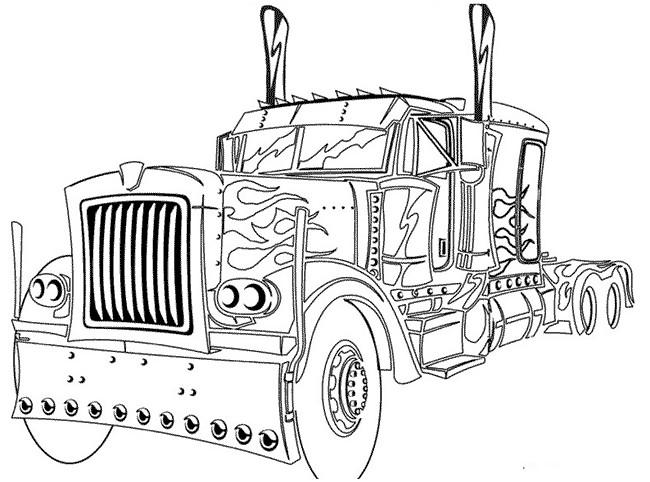 Coloriage camion am ricain dessin gratuit imprimer - Camion americain dessin ...