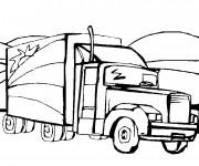Coloriage Camion américain de marchandises