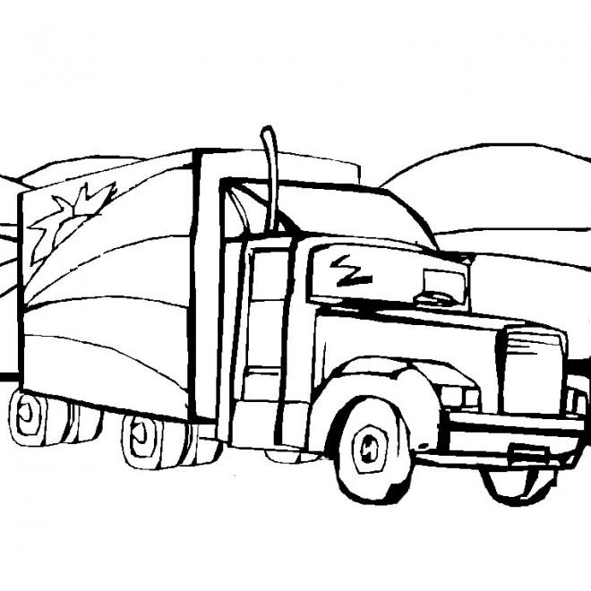 Coloriage et dessins gratuits Camion américain de marchandises à imprimer