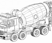 Coloriage et dessins gratuit Camion de Béton à imprimer