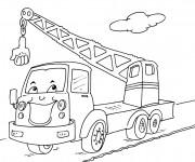 Coloriage Camion grue humoristique