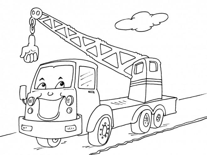 Coloriage camion grue humoristique dessin gratuit imprimer - Dessin de grue ...