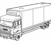 Coloriage Camion semi remorque simple