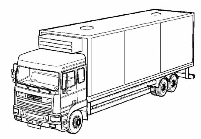 Coloriage et dessins gratuits Camion semi remorque simple à imprimer