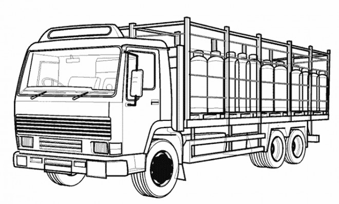 Coloriage et dessins gratuits Camion semi remorque vectoriel à imprimer