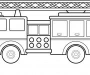 Coloriage Grande échelle de Camion de pompier