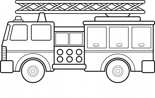 Coloriage Grande Echelle De Camion De Pompier