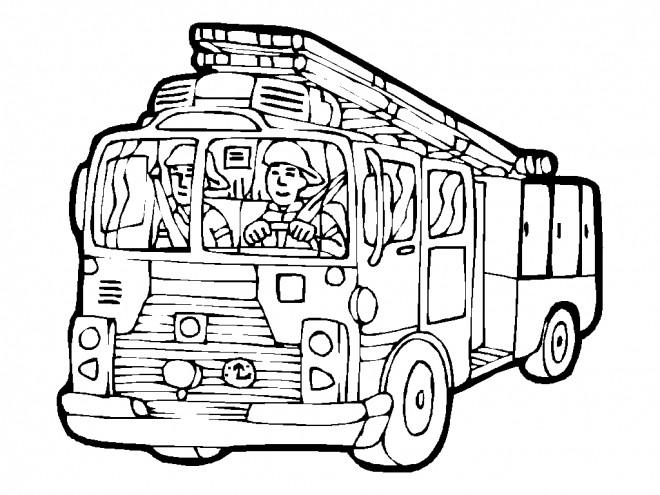 Coloriage et dessins gratuits Le Pompier conduit le Camion à imprimer