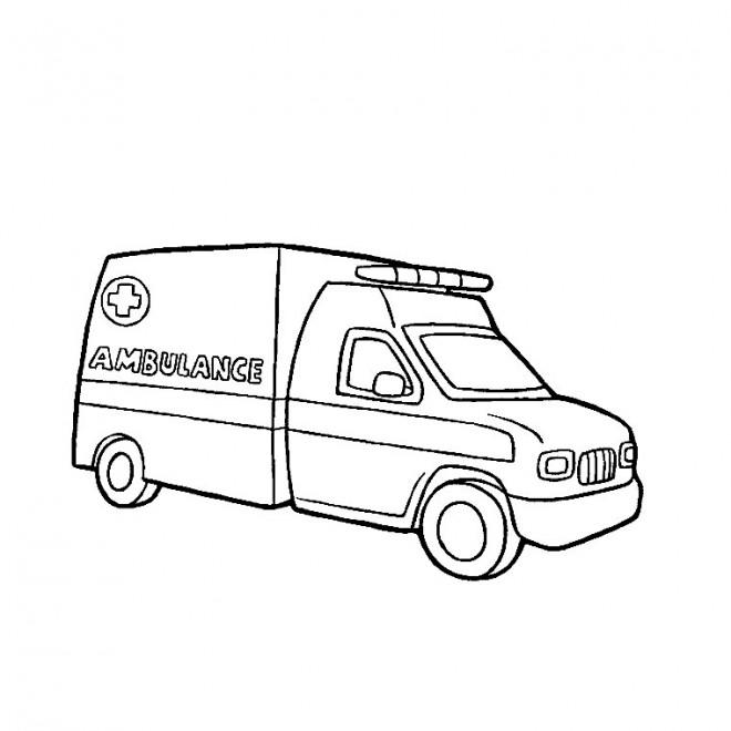 Coloriage une ambulance dessin gratuit imprimer - Dessin de camion a imprimer ...
