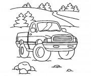 Coloriage et dessins gratuit Paysage de Camionnette dans la nature à imprimer