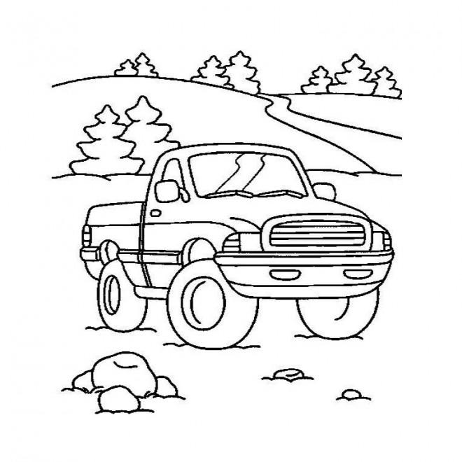 Coloriage et dessins gratuits Paysage de Camionnette dans la nature à imprimer