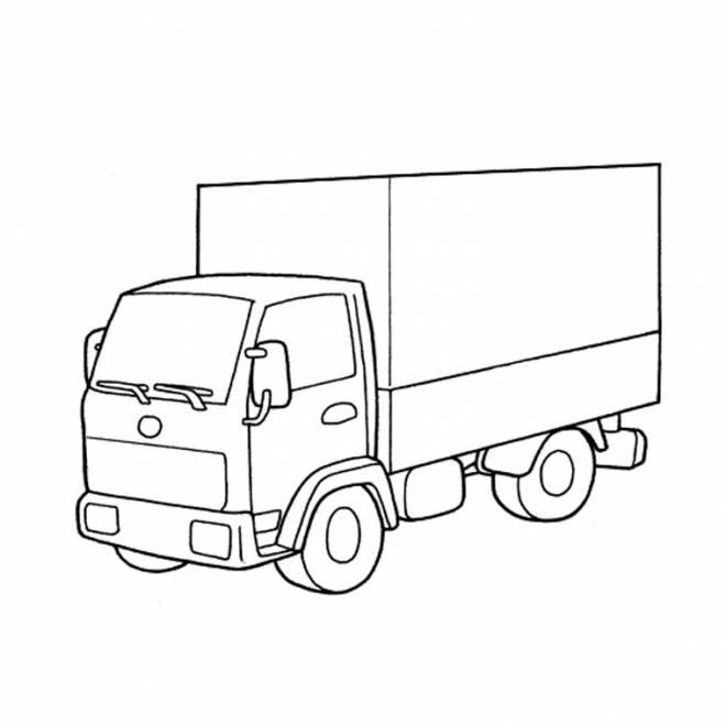 Coloriage et dessins gratuits simple camion fermé à imprimer