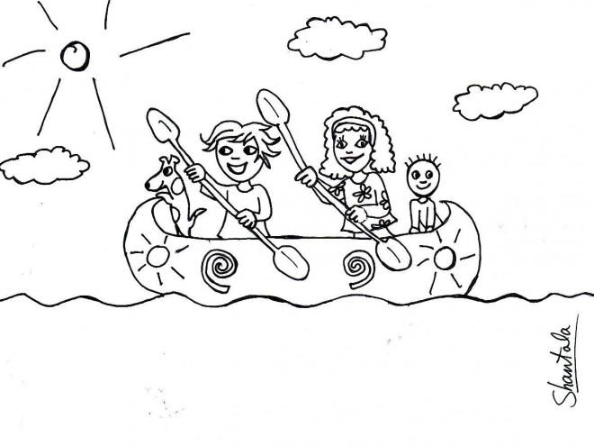 Coloriage et dessins gratuits Famille sur Le Canot à imprimer