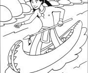 Coloriage Indien sur la rivière