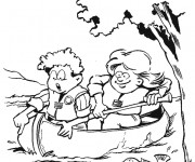 Coloriage Les Enfants sur Le Canot