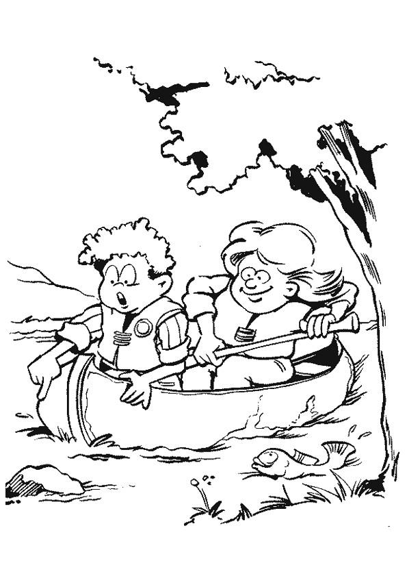 Coloriage et dessins gratuits Les Enfants sur Le Canot à imprimer