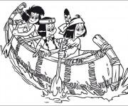 Coloriage Les Filles  indiennes sur le Canot
