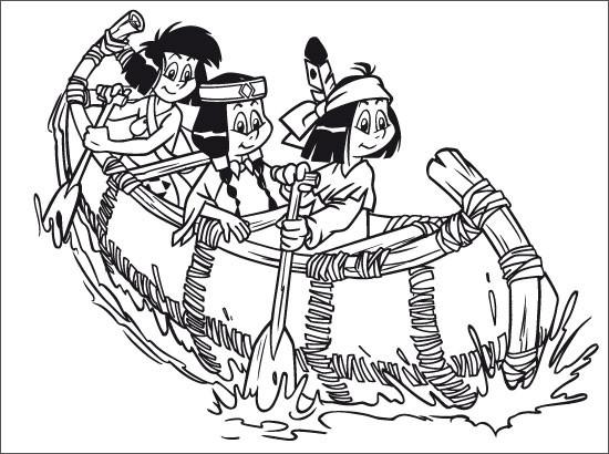 Coloriage et dessins gratuits Les Filles  indiennes sur le Canot à imprimer