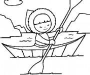 Coloriage et dessins gratuit Petit Eskimo sur Le Canot à imprimer