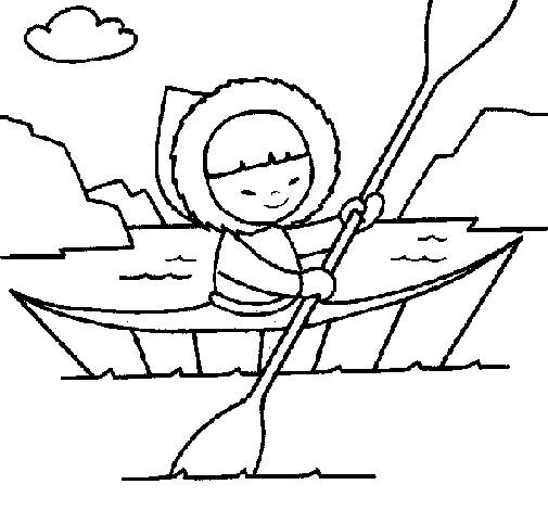 Coloriage et dessins gratuits Petit Eskimo sur Le Canot à imprimer