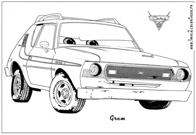 Coloriage auto grem cartoon dessin gratuit imprimer - Coloriage cars 2 miguel camino ...