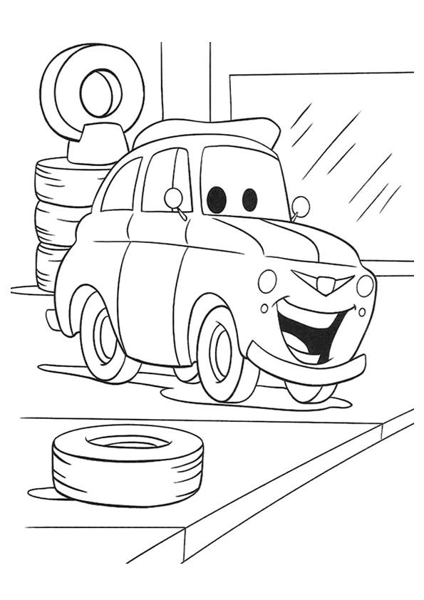 Coloriage et dessins gratuits Auto heureux au garage à imprimer