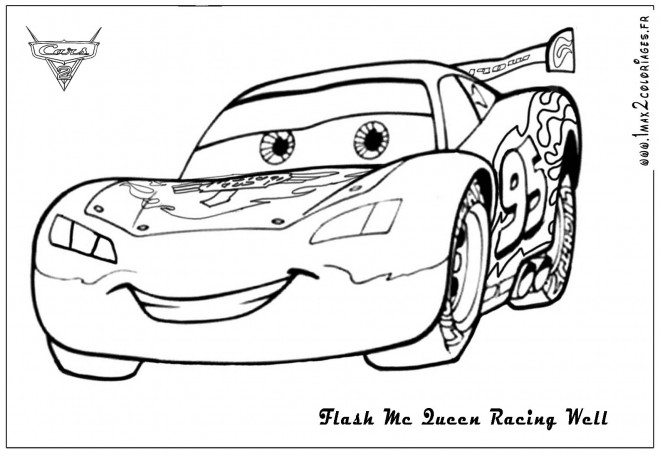 Coloriage et dessins gratuits Car de course Flash Mcqueen à imprimer